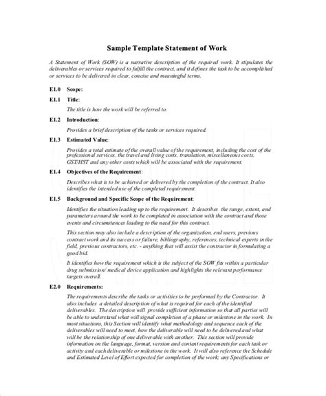 free statement of work template statement of work template 12 free pdf word excel