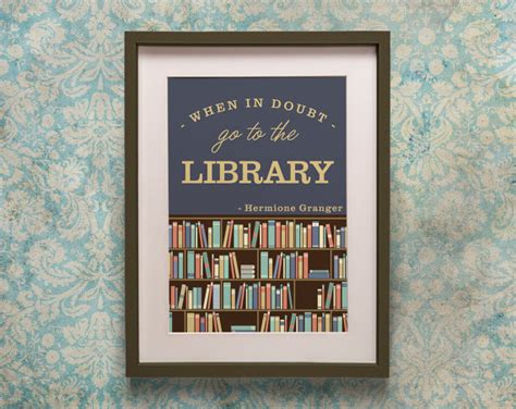 printable library quotes harry potter library quote poster print hermione granger