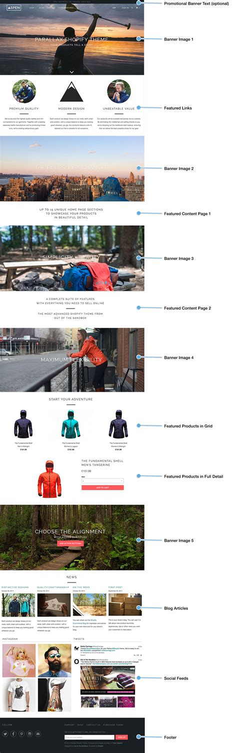 shopify themes parallax out of the sandbox parallax home page content layout