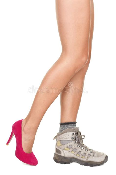 sport shoes with high heels shoes decision concept high heels or sports shoe royalty