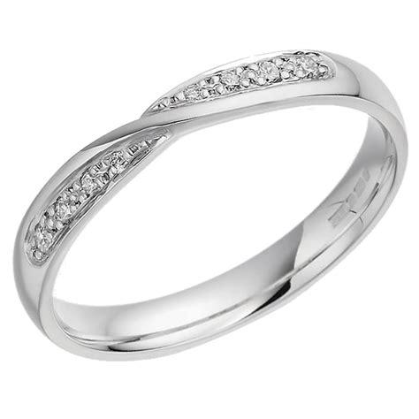 womens 18ct white gold twist wedding ring
