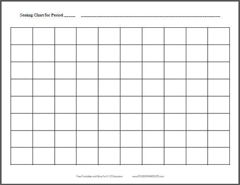 10x8 Horizontal Classroom Seating Chart Template Free Printable For Teachers K 12 Education Create Seating Chart Template
