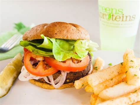 p protein burger g p veggie burger greens and proteins