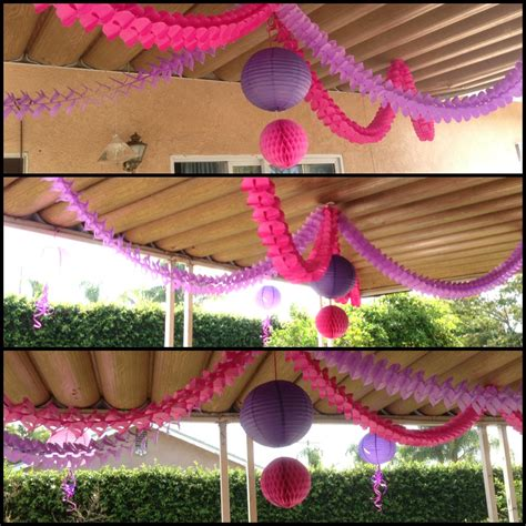 ceiling decoration ideas events party parties pink purple garland garlands ceiling