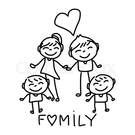 how to draw together on doodle buddy drawing character happy family stock vector