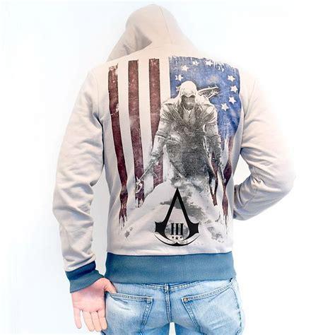 Hoodie Sweater Zipper Assasins Creed Cloth 4 assassin s creed iii hooded sweater flag logo size xl