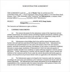 sample subcontractor agreement 14 documents in pdf word