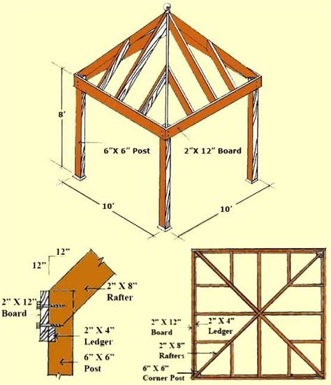 Gazebo Floor Plans Building Plans For 10x10 Pavilions Diy Gazebo Plans