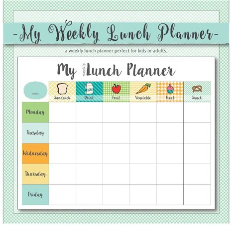free printable easy 5 day lunchbox planner lunch box april 2016 calendar free printable live craft eat