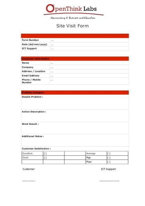 home visit form template software development site visit form template