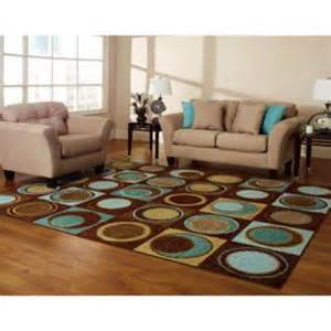 Turquoise Rug Living Room by New Blue Turquoise Brown Aqua Geometric Area Rug Circles Ring Room Bedroom Decor