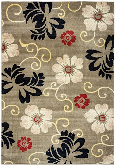 Bay Side Simple Floral Area Rug In Grey Ivory Black Red 6 Simple Area Rugs