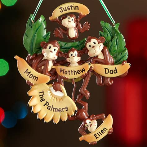personalized monkey family christmas ornament 5 monkeys