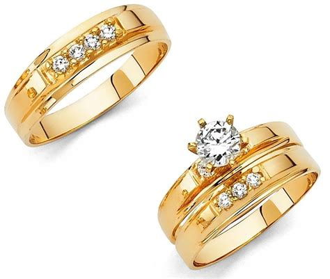 solid gold wedding ring sets 14k solid yellow italian gold wedding band bridal