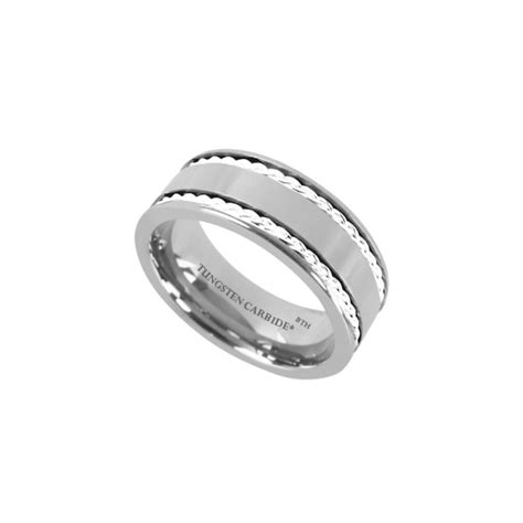 925 silver inlay tungsten carbide comfort fit wedding