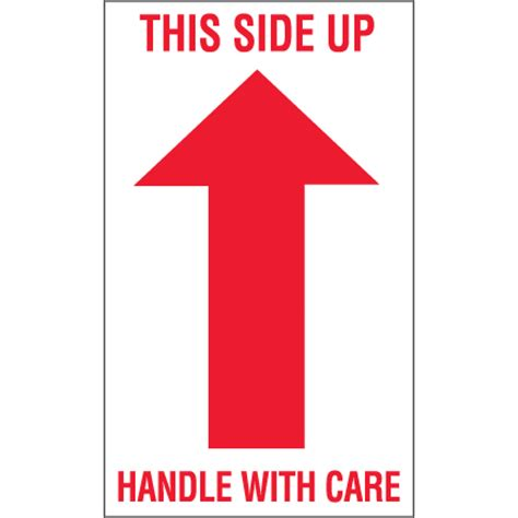 """3 x 5"""" """"this side up handle with care"""" arrow labels"""