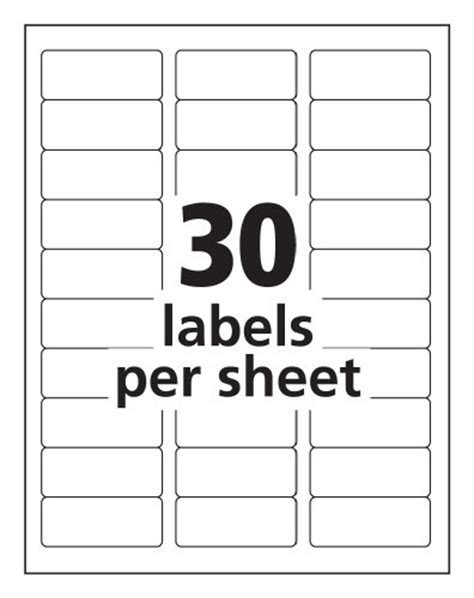 avery template 18660 avery easy peel mailing labels for ink jet printers 1 x 2