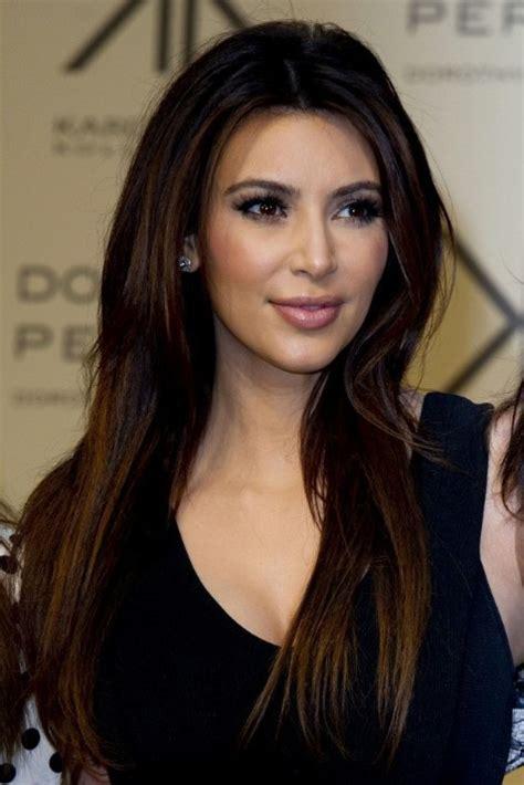 kim kardashian sleek long hairstyle  straight hair