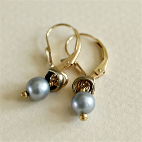 small gray pearl earring gold filled and pearl small