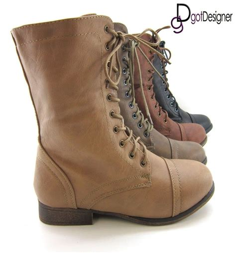 womens flat lace up shoes womens shoes combat boots motorcycle mid calf