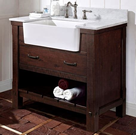 bathroom farm sink vanity napa 36 quot farmhouse vanity aged cabernet fairmont