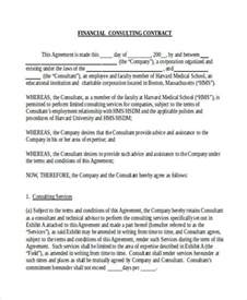 financial contract template sle financial contract forms 7 free documents in