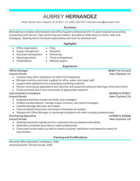 Office Administration Resume Exles by Admin Resume Exles Admin Sle Resumes Livecareer