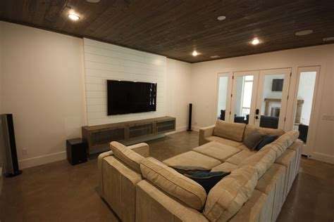 lovesac moonpit shiplap tv wall floating media stand polished concrete