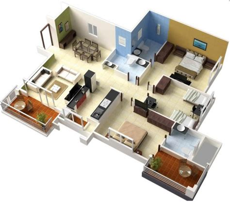 Floor Plans 3 Bedroom by 3 Bedroom Apartment House Plans
