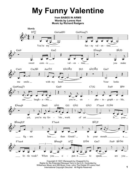 my funny valentine sheet music by rodgers amp hart voice