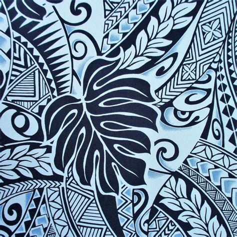 fabric polynesian tattoo tapa designs in blue monstera