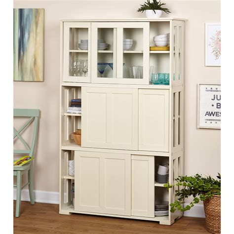 sliding tempered glass doors stackable storage cabinet