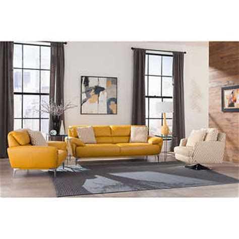 Yellow Living Room Set Carlo 3 Top Grain Leather Fabric Living Room Set Sunflower Yellow