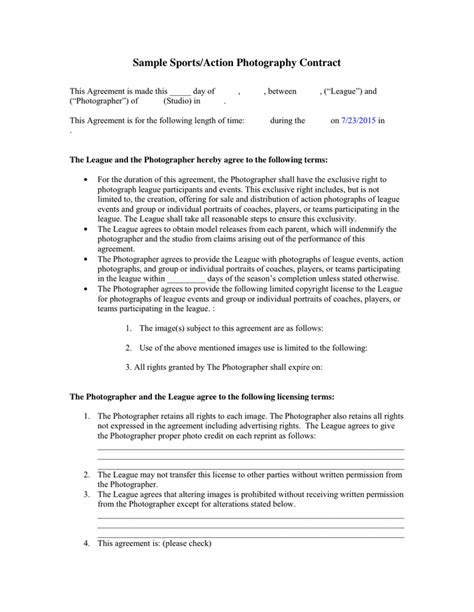 Exclusivity Agreement Template sports action photography contract in word and pdf formats