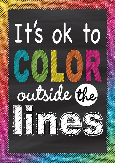 color outside the lines it s ok to color outside the lines positive poster