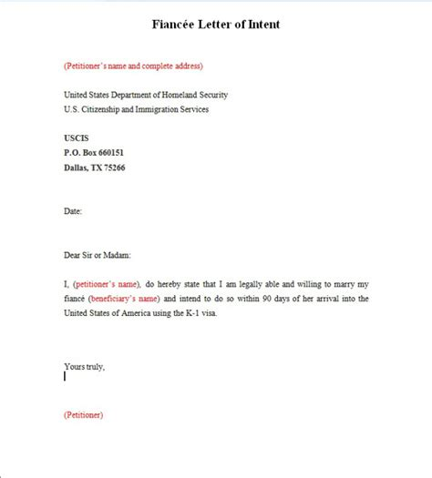 Letter Of Intent Sle Visa fiance letter of intent to sle 28 images letter of