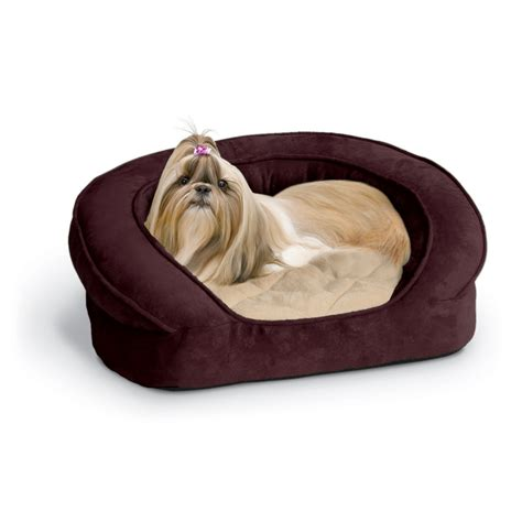 petco dog bed k h deluxe ortho bolster sleeper dog bed in eggplant with