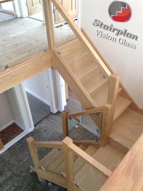 New Banister Glass Staircase Balustrade Oak Handrails Toughened Glass