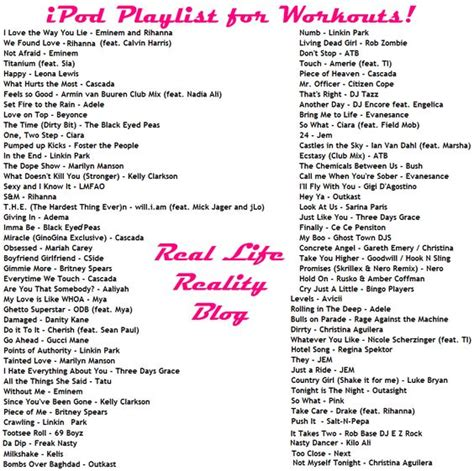 song list ipod song list workout playlist for exercising