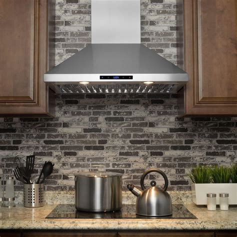small white kitchen with steel hood 30 in convertible kitchen wall mount range hood in