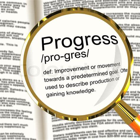progress definition magnifier showing achievement growth and development stock photo colourbox