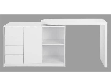 Bureau extensible PAVEL   4 tiroirs & 1 porte   Laqué blanc