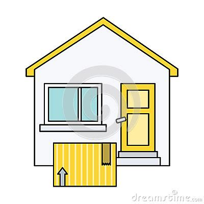 cartoon house design delivery box to home house design flat stock vector image 68218006