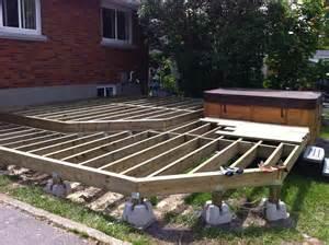 two level deck framing floating on dek blocks this is