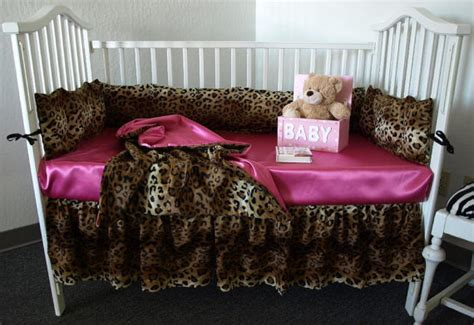 Pink Leopard Print Crib Bedding Leopard Print Crib Bedding Set By Sewcustomcorporation On Etsy