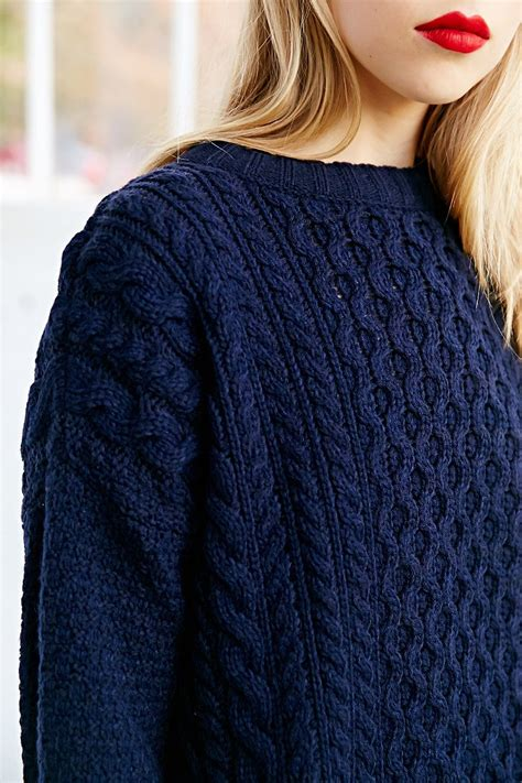blue knit sweater bdg honeycomb cable knit sweater in blue lyst
