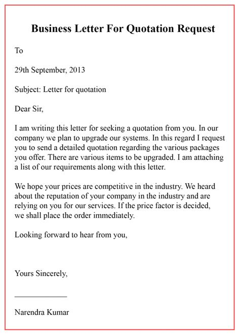 quotation format letter templatedosecom