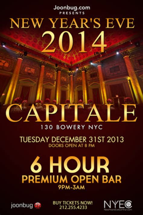 new year nyc schedule capitale new years 2014 capitale new york ny