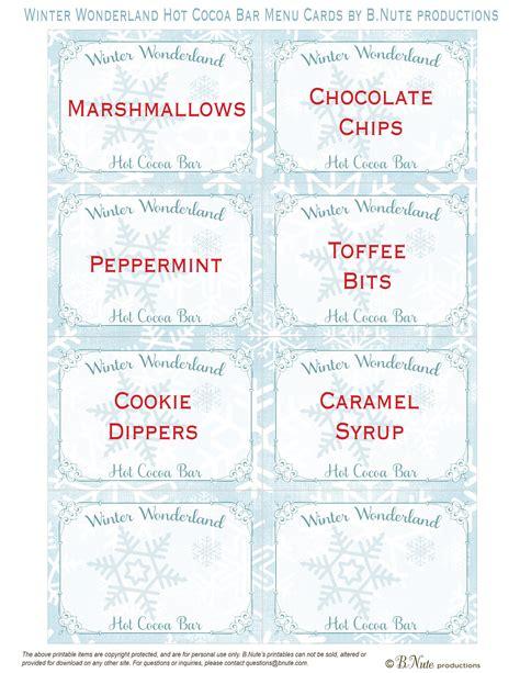 printable menu tags bnute productions winter wonderland hot cocoa bar plus