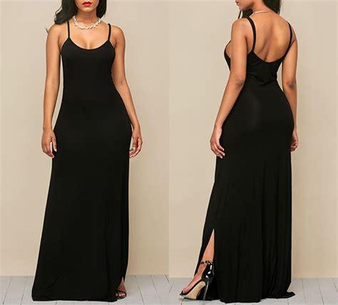 Fashion Wanita Slit Maxi Terlaris side slit spaghetti black maxi dress rosewe fashion black maxi dress